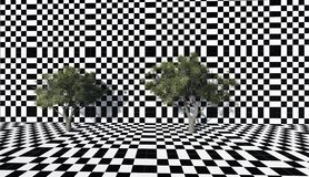 Trees  on the checkered wall Stock Photography
