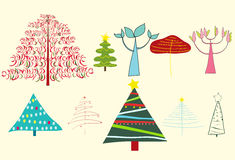 Trees and christmas trees Royalty Free Stock Photos
