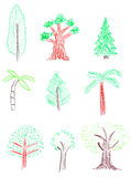 Trees collection Royalty Free Stock Images