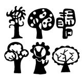 Trees. Collection of decorative ial trees on a white background Royalty Free Stock Images