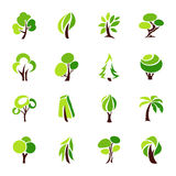 Trees. Collection of design elements. Vector logo template set. Icons set Stock Images