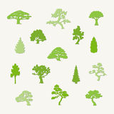 Trees collection. Collection of different trees. Green  silhouettes of trees on a light background Royalty Free Stock Photo