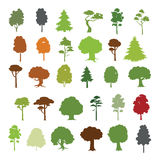 30 trees  collection. Forest trees silhouettes  collection Stock Photos