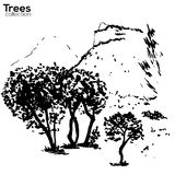 Trees collection. Ink Herault, France landscape. Vector Trees collection. Ink sketched Herault, France landscape with trees and Pic St Loup stock illustration