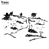 Trees collection. Ink landscape with trees. Vector Trees collection. Ink sketched landscape with trees royalty free illustration