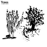 Trees collection. Ink landscape with trees. Vector Trees collection. Ink sketched landscape with trees stock illustration