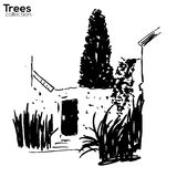 Trees collection. Ink old wall and plants. Vector Trees collection. Ink sketched landscape with old wall, door and plants royalty free illustration