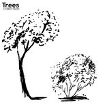 Trees collection. Ink trees silhouettes. Vector Trees collection. Ink sketched trees silhouettes Royalty Free Stock Image