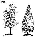 Trees collection. Ink trees silhouettes. Vector Trees collection. Ink sketched trees silhouettes stock illustration