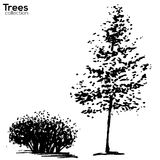 Trees collection. Ink trees silhouettes. Vector Trees collection. Ink sketched trees silhouettes royalty free illustration