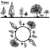 Trees collection. Ink trees silhouettes. Vector Trees collection. Ink sketched border with trees royalty free illustration
