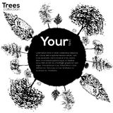 Trees collection. Ink trees silhouettes. Vector Trees collection. Ink sketched frame with trees vector illustration