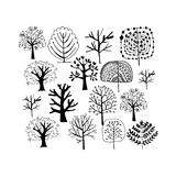 Trees collection, sketch foryour design Stock Images