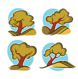 Trees collection. Vector set of ecology and nature, signs and icons Stock Image