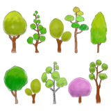 Trees colored doodle Royalty Free Stock Image