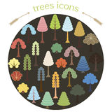 Trees colored icons Stock Photography