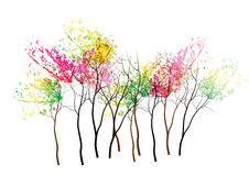 Trees,colorful trees in autumn vector illustration Stock Photos