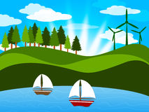 Trees Countryside Shows Sailor Natural And Outdoor. Countryside Sailing Meaning Tree Trunks And Outdoor Royalty Free Stock Image