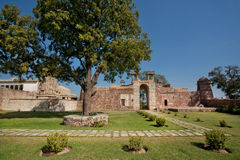Trees in courtyard of royal palace of the Chittorgarh Fort Royalty Free Stock Photography