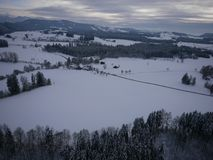 Aerial photo of winter landscape Stock Photos