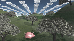 Trees of currency and dollar clouds Stock Photography