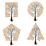 Trees of different geometric shapes. Stock Photography