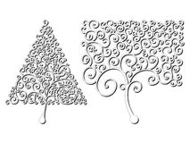 Trees of different shapes of curls. Design element. Concept logo. royalty free illustration