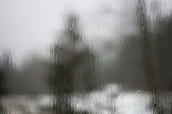 Trees distorted through raindrops on a window pane Stock Photos