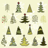 Trees drawn hand sketch. Christmas and New Year stock illustration