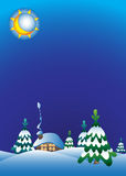 Trees drift background. Night winter landscape with a moon spruce house. Vector illustration Stock Image