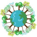 Trees on earth globe Stock Photo