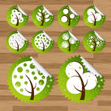 Trees eco sticker wood icon set Stock Photography
