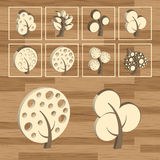 Trees eco wood icon set 3D Stock Photography