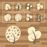 Trees eco wood icon set 3D Stock Photography