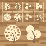 Trees eco wood icon set vector Royalty Free Stock Photo