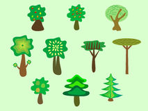 Trees ecology nature Park set Royalty Free Stock Photography