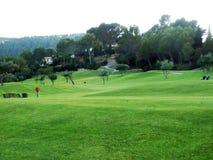 trees för sand för golf för flagga för höstfärgfält Arkivfoto