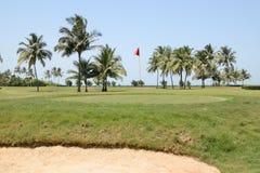 trees för sand för golf för flagga för höstfärgfält Arkivbild