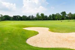 trees för sand för golf för flagga för höstfärgfält Royaltyfri Fotografi