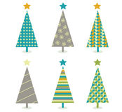 trees för set för julsymbol retro Royaltyfri Fotografi