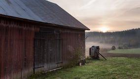 trees för silhouette för morgon för dimmahusliggande Arkivfoton