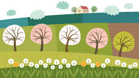 Trees and fields. Vector illustration of fields and trees Royalty Free Stock Image