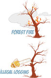 Trees on fire and cut. Vector illustration set Stock Photo