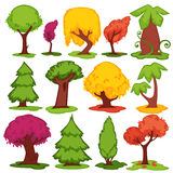 Trees flat vector icons coniferous, deciduous cartoon set Stock Images