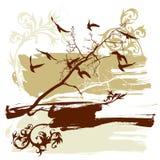Trees, flower, flying birds Stock Image