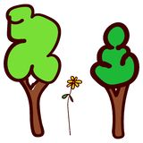 Trees and flower in the style of childrens drawing stock illustration