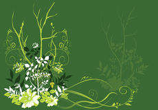 Trees and flowers. On  Green floral background Stock Photos