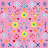 Trees flowers patterns colored symbols ornament on pink background royalty free illustration