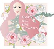 trees and flowers peonies. Pretty girl with stylish makeup. Pinc colors. Vector fashion illustration. royalty free illustration