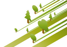 Trees in the Forest. A graphic of trees of different shapes and sizes Royalty Free Stock Images